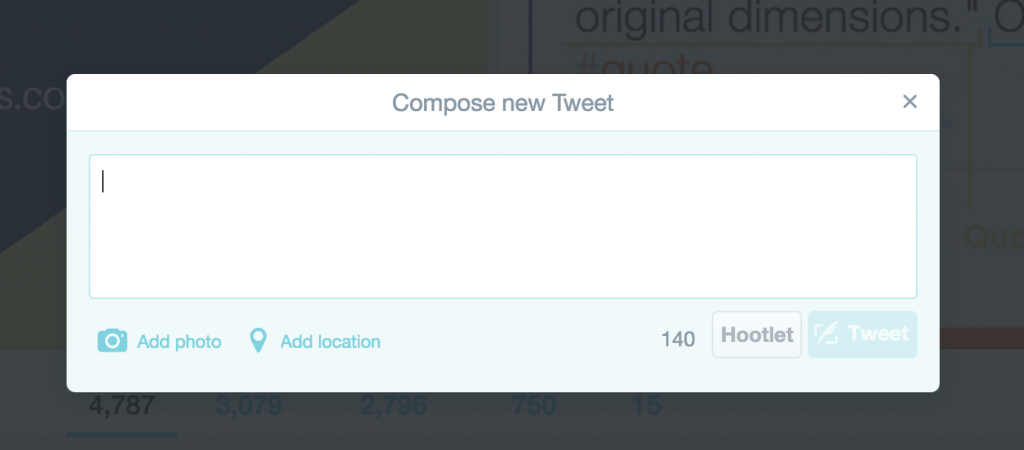 Compose a new tweet screen