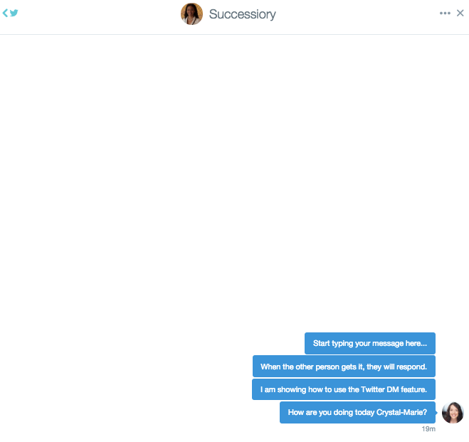 Twitter dm example started conversation
